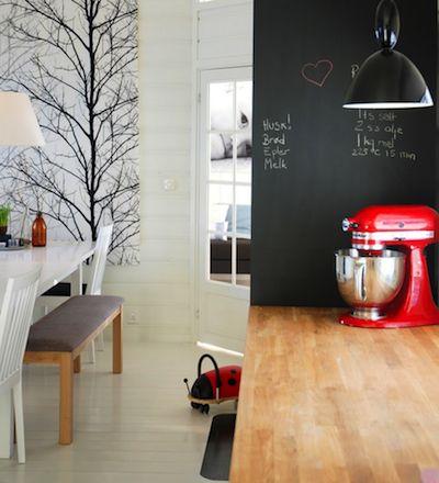 Mon Kitchen Aid rouge à côté du bois et du tableau ?  Remarquez l'immense illustration derrière.