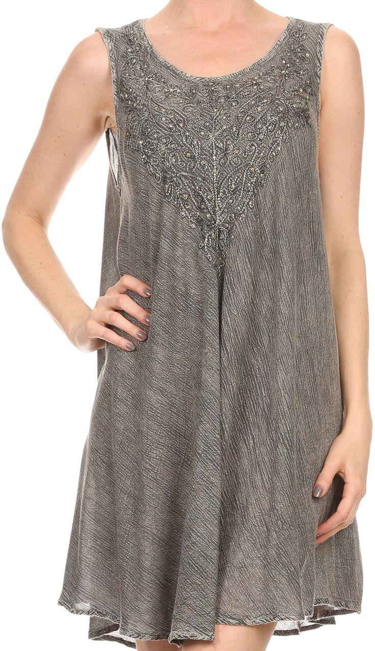 Sakkas Vilaya Short Sleeveless Embroidered Sequin Tank Top Caftan Dress / Cover Up