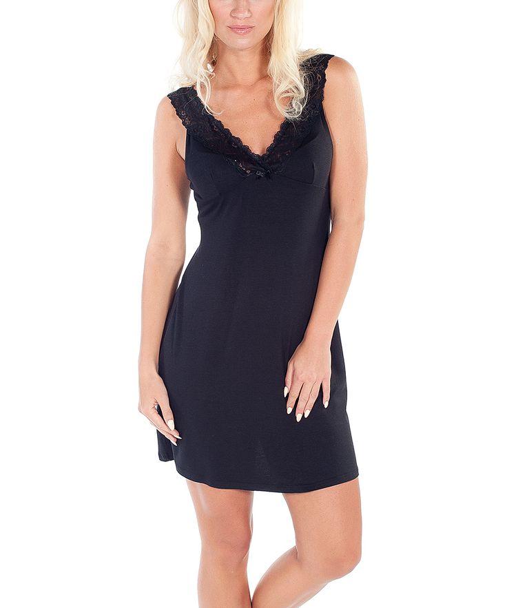 Black Lace-Trim V-Neck Madam Nightgown