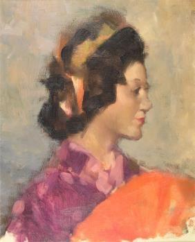 """AMERICAN SCHOOL (20th Century) A painting, """"Portrait of a Woman,"""". Dit schilderij spreekt mij aan door hoe de vrouw staat en het gebruik van kleur. De kleuren koraal-oranje en paars spreken mij namelijk altijd wl aan. De stand van hoe de vrouw staat en het perspectief erop vind ik mooi gebruikt voor dit schilderij."""