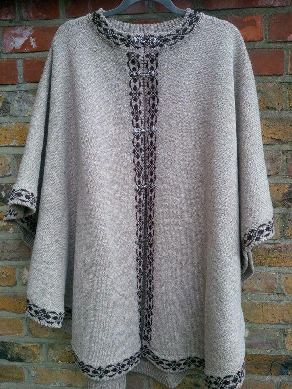 Pure Wool Ladies Poncho Beige with Brown Trim by ArtEstWool