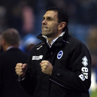 Gus Poyet, slightly bonkers manager of home team Brighton & Hove Albion (aka 'the Seagulls')
