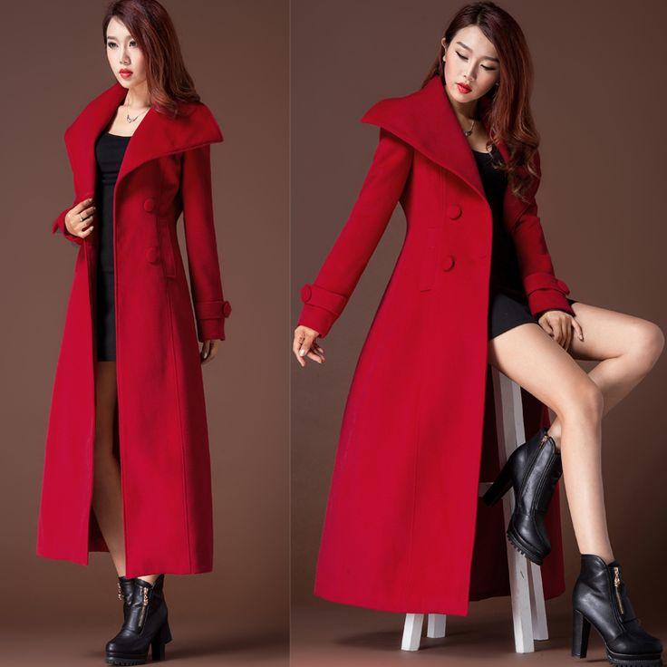2015新款女欧美修身双面羊绒大衣加长款双排扣毛呢厚外套