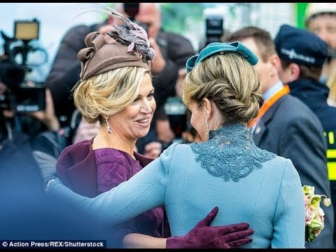 Queen Maxima and Queen Mathilde dazzle in jewel tones as they step out together in Utrecht