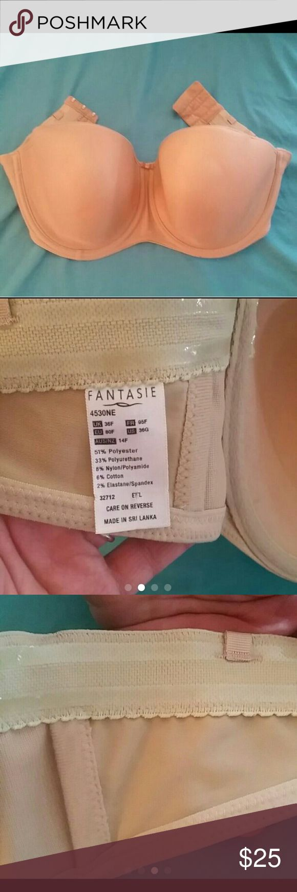 NWOT Fantasie 36G convertible strapless bra New without tags. Took them off and realized it did not fit properly. Nude beige colored. 36G 36DDDD or 36F uk size.  Lightly lined. Fantasie Intimates & Sleepwear Bras