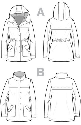 Kelly Anorak jacket sewing pattern_Technical drawing-04