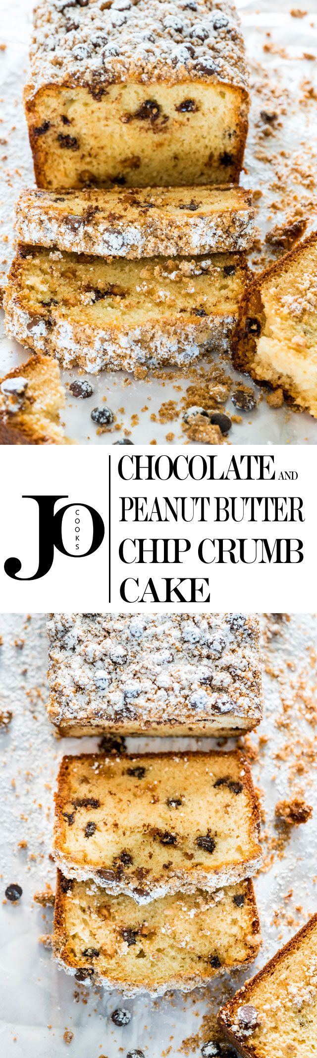 Chocolate and Peanut Butter Chip Crumb Cake - the answer to your brunch or breakfast! Delicious crumb cake loaded with chocolate and peanut butter chips!