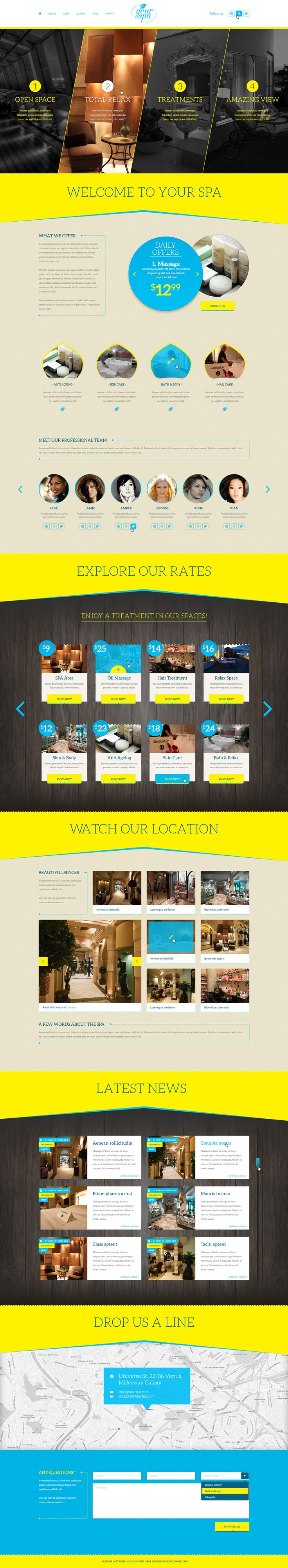 Your Spa – Health/Beauty One Page PSD Template design. Thought for health and beauty category sites. It has a full potential to be your next one page site for your client. All shapes are 100% customizable with font icons that make the design retina ready.