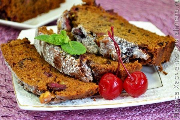 Постный кекс с вишней и орехами