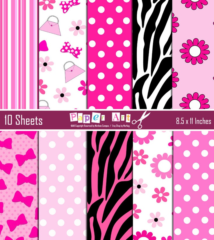 Minnie Mouse Pink Digital Paper Inspired, Background ...