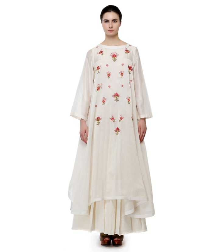 Off White Cotton Silk Thread Work A Line Kurta With Inner