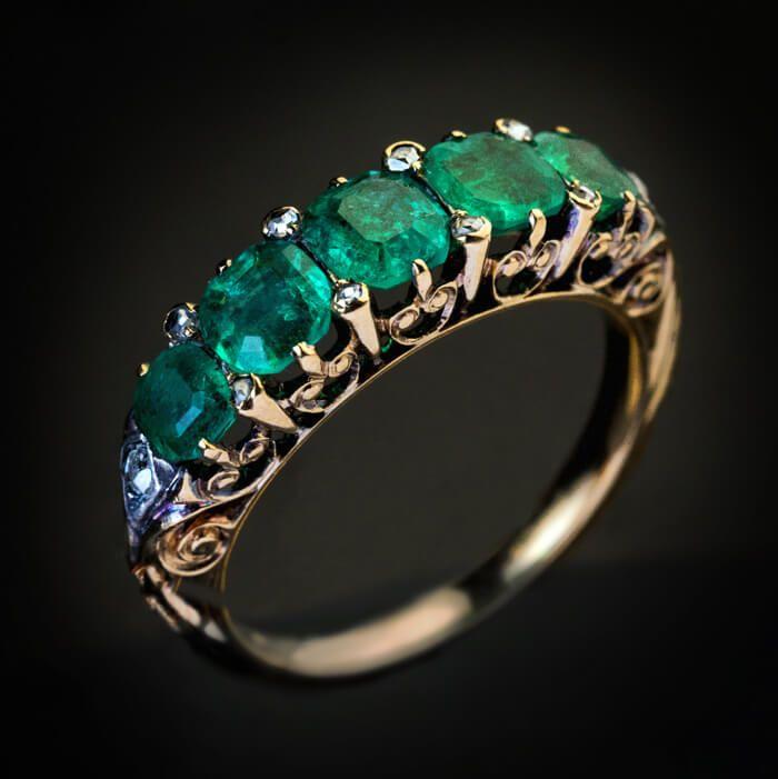 Fine Handmade Natural Rose Cut Diamond /& Emerald Gold 925 Sterling Silver Victorian Vintage Fine Handmade Diamond Ring Jewelry