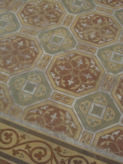 SkimStone and Stenciled Floor in Florence inspires Italian pattern and design in home decor and decorative finishing