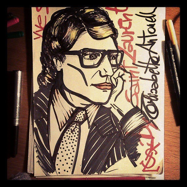 Yves Saint Laurent sketch by Elisabetta Antonelli alias attebasile. #Yves #saintlaurent @Yves Saint Laurent #moda #disegno