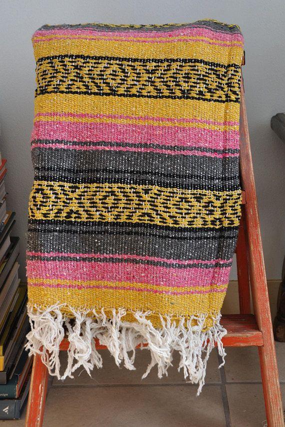 Vintage Mexican Falsa Serape // Southwestern Blanket //