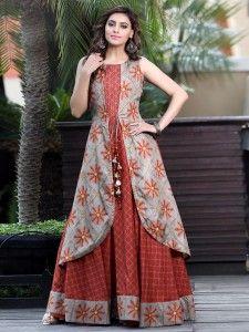 48a1e4fe6 Silk party wear designer kurti in red color