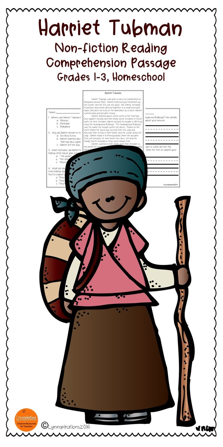 This Readingprehension Passage About Harriet Tubman For Grades 13 Can  Be Used In
