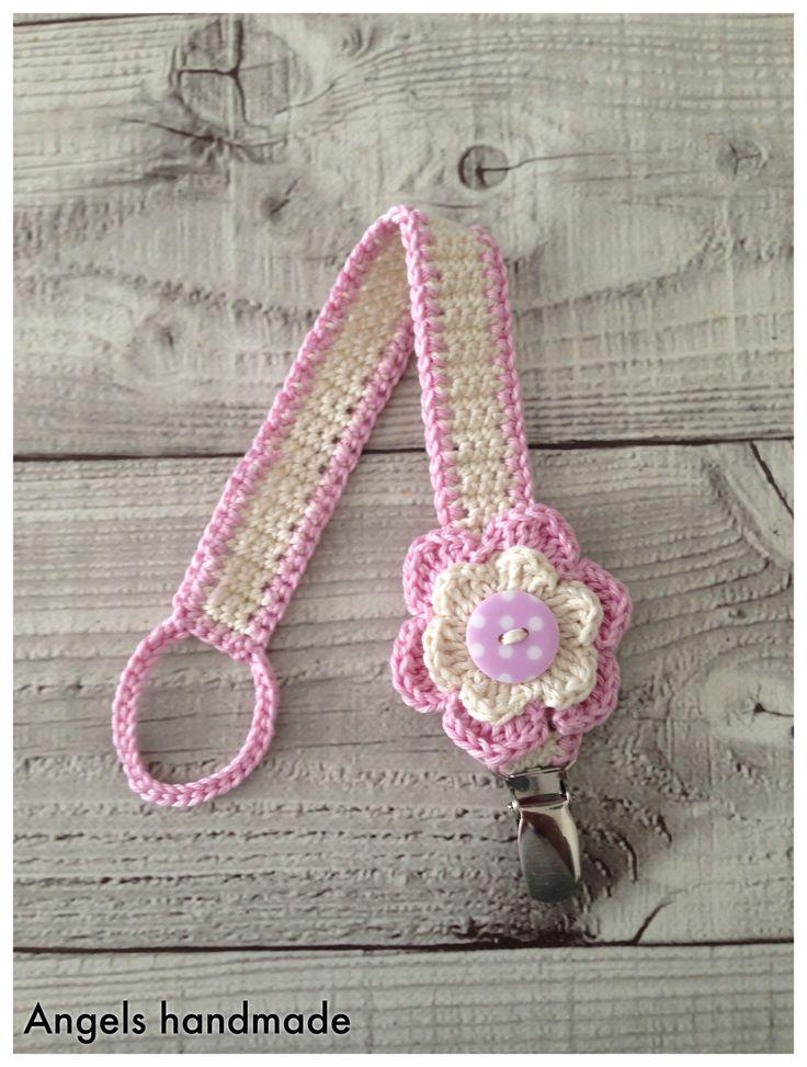 Gehaakte speenkoord met bloem, gratis haakpatroon. #crochet baby flower free…