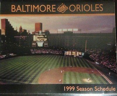 Baltimore Orioles Baseball 1999 MLB Pocket Schedule Unused New
