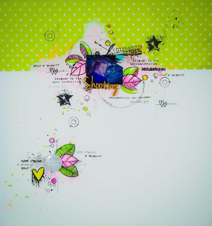 Nadia pour graffiti'Girl page de scrap rose, vert , douceur, tendresse, fille , coeur, feuillage, mots bois , étoiles, textes Français