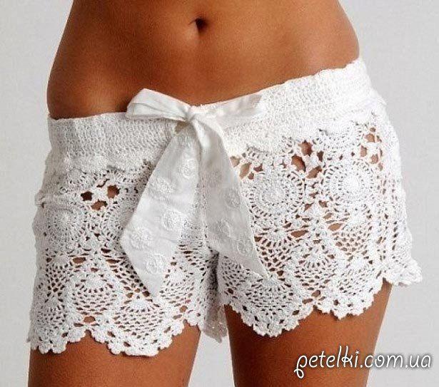 http://www.ctejidas.co/2015/12/patron-631-short-blanco-crochet.html Patrón #631: Short Blanco a Crochet | CTejidas [Crochet y Dos Agujas]