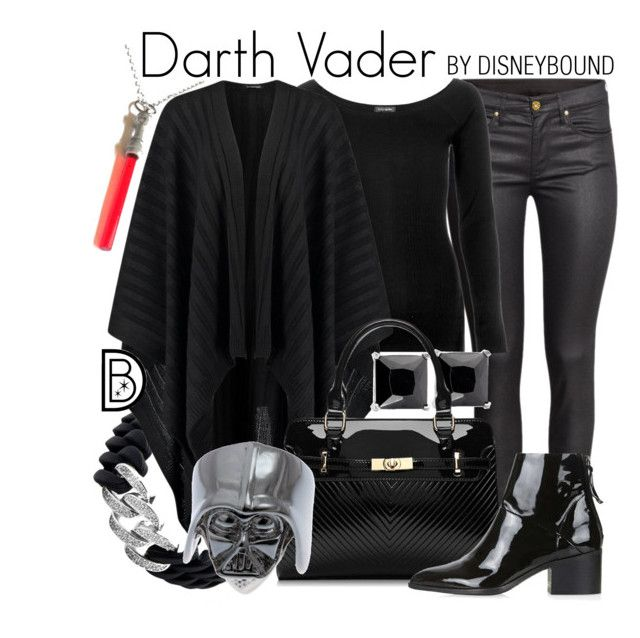 """""""Darth Vader"""" by leslieakay ❤ liked on Polyvore featuring H&M, River Island, The Rubz, Topshop, disney, disneybound, starwars and disneycharacter"""