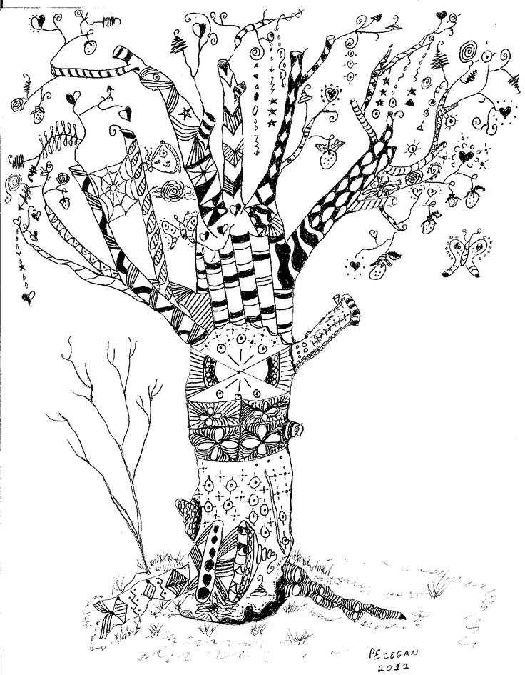 tree drawing detailed tree drawings - Cherry Blossom Tree Coloring Pages