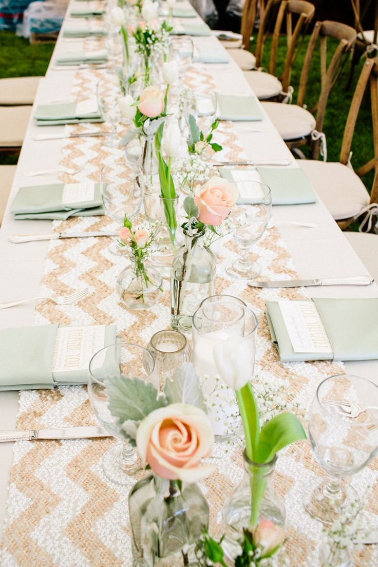 every last detail | wedding inspiration | wedding table | chevron table runner | bud vases | french blue | blush | place setting | tablescapes