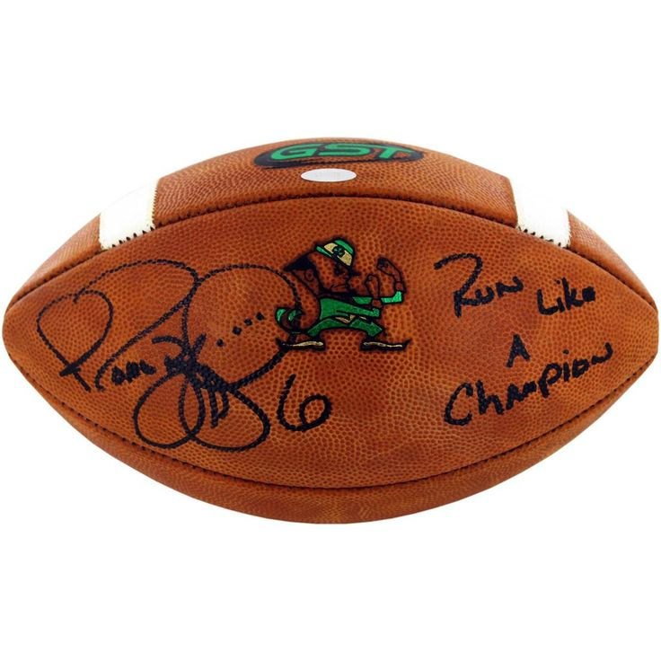 Jerome Bettis Signed Notre Dame Game Model Football w Run Like a Champion Today