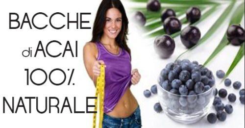 BACCHE DI ACAI - I PREGI:    • Perdita di peso salutare ed efficace attraverso accelerazione del metabolismo e controllo dell'appetito   • Trattamento di problemi come artrite, diabete e fibromialgia   • Nutrimento aggiuntivo per pelle e capelli per un aspetto migliorato e più giovanile   • Aiuta nella digestione e nella detossificazione del corpo …  • Aiuta a bruciare i grassi più facilmente e mantiene il peso in eccesso permanentemente fuori dal corpo