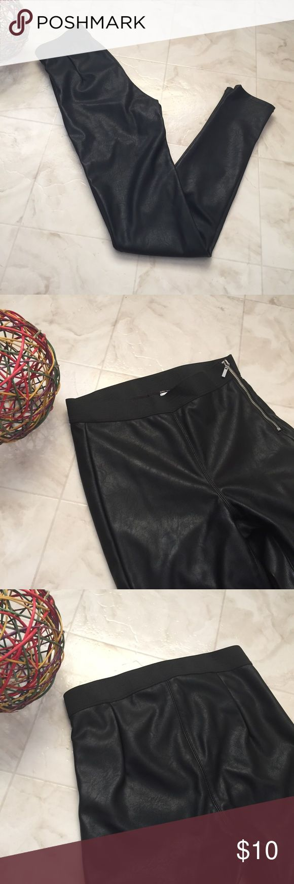 H&M Leggings Faux leather legging with side zipper detail on the left. New without tag H&M Pants Leggings