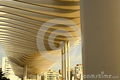 A pice of nice arhitecture in Malaga port bay with blocks on the background. I think it's functionality is as a bower.