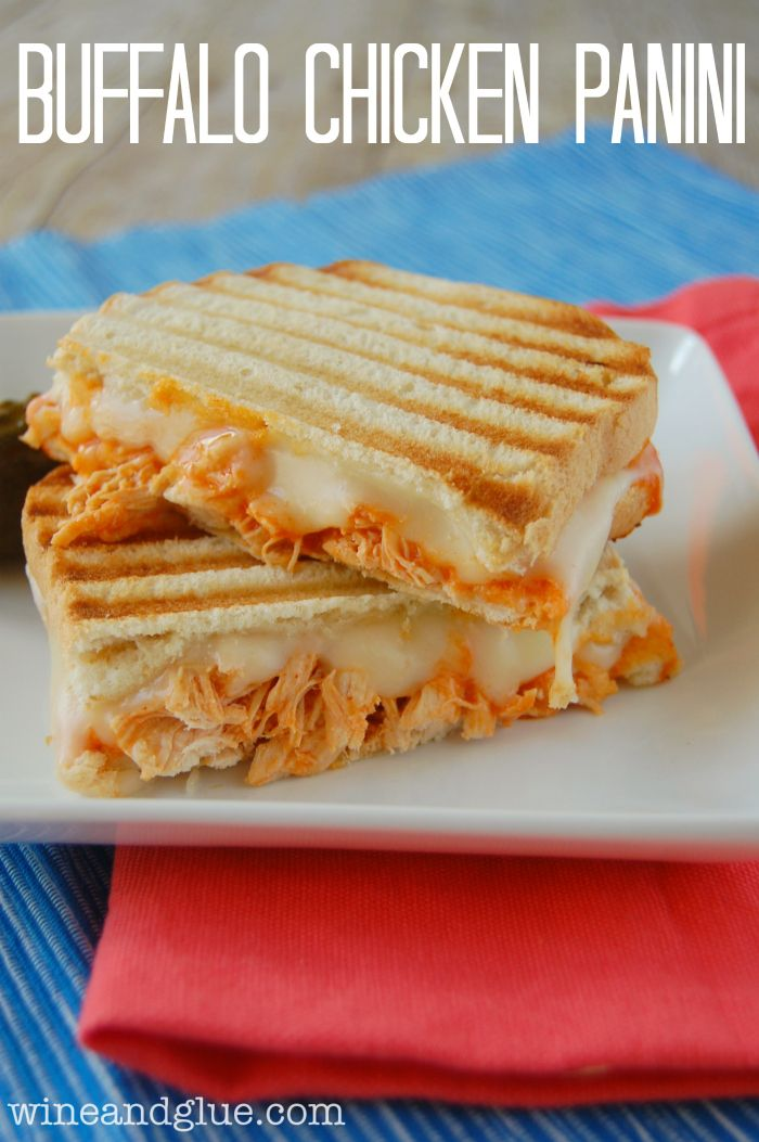 Buffalo Chicken Panini - this is almost exactly what Jack made last week. Always looking for way to put meat in normally meatless things like grilled cheese for my I need meat at every meal husband.
