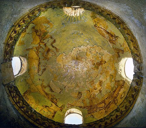 Earliest surviving painted representation of zodiac in the round, eighth century, dome of bathhouse, Umayyad Palace, Qasr Amra, Jordan