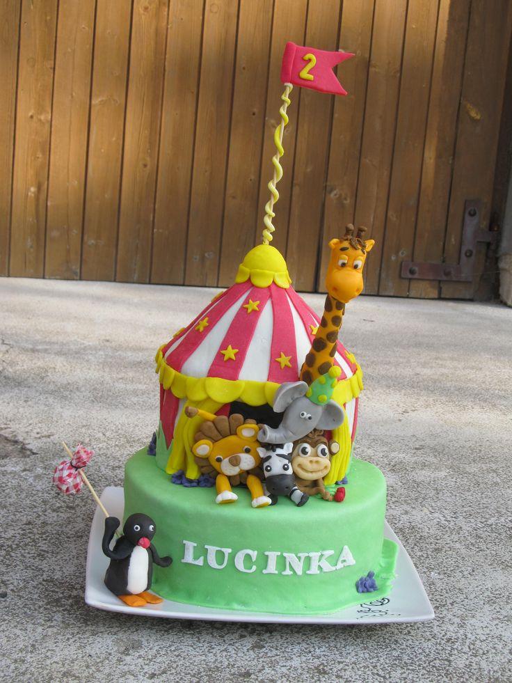 dort cirkus,zvířátka circus cake