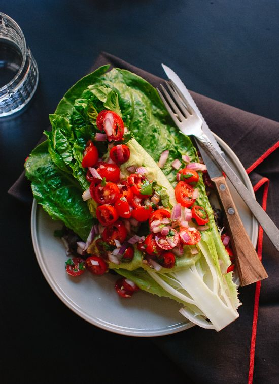 Heart of Romaine Salad with Pico de Gallo and Avocado Dressing
