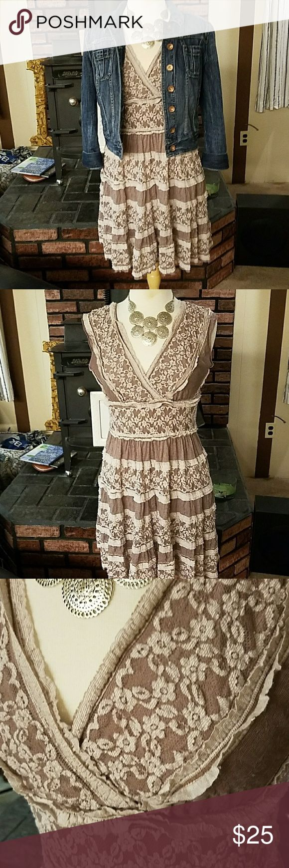 "Stretchy lace dress ""You know me, give me a hint of saloon girl and I'm sold."" Great dress for the summer.  Easy and fun to wear.  Very versatile for styling.   37 inches long.   Good used condition. Max Studio Dresses"