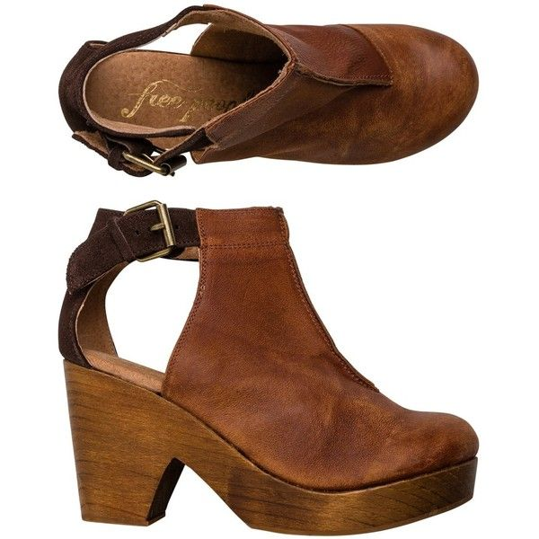 Free People Amber Orchard Clog ($168) ❤ liked on Polyvore featuring shoes, clogs, brown, panel cap, brown leather shoes, brown shoes, high heel shoes and brown leather clogs