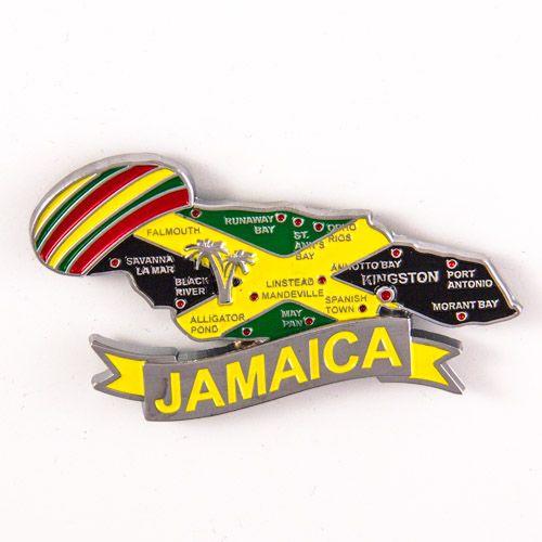 Metal Fridge Magnet: Jamaica. Map of Jamaica (Chrome Plating and Enamel)