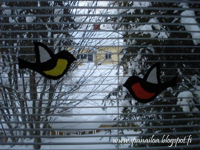 askartelua: eläimet, lintu, punatulkku, talitintti, pistely  http://ipanaaskartelua.blogspot.fi/2010/02/lintu.html