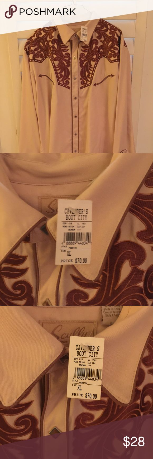 Men's Scullys Western Button up. NWT Men's cream and dark brown Scullys button up from Cavenders. Size XL. NWT Scully Shirts Dress Shirts