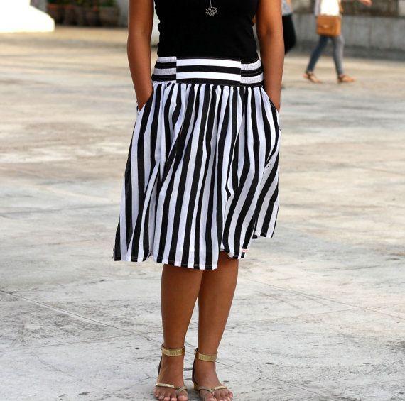 Black and White striped Skirt, Midi Skirt, Nautical skirt