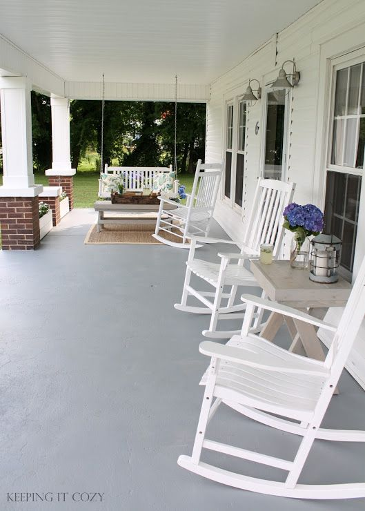 Keeping It Cozy: The Front Porch.  *SAVE - my kind of style where minimalism meets farmhouse : ) Fresh & not over decorated.