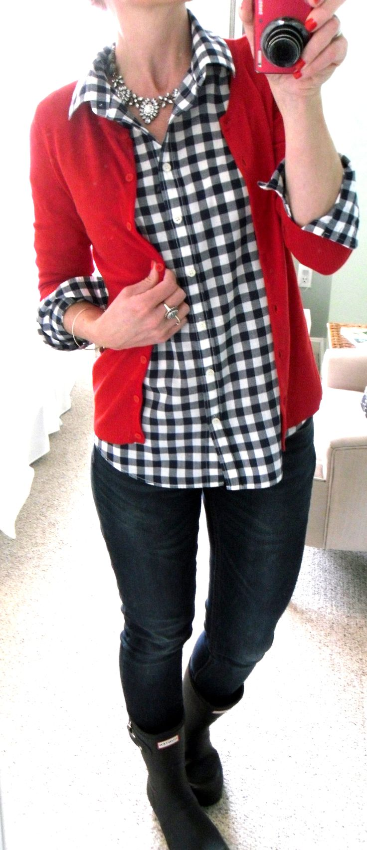 J. Crew blue and white gingham shirt, Jones New York red cardigan, skinny jeans, Hunter short black rain boots