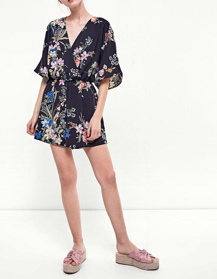 Printed kimono jumpsuit - Jumpsuits   Stradivarius United Kingdom