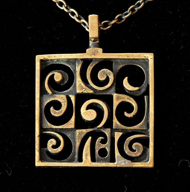 Jorma Laine for Turun Hopea, Vintage modernist bronze necklace.
