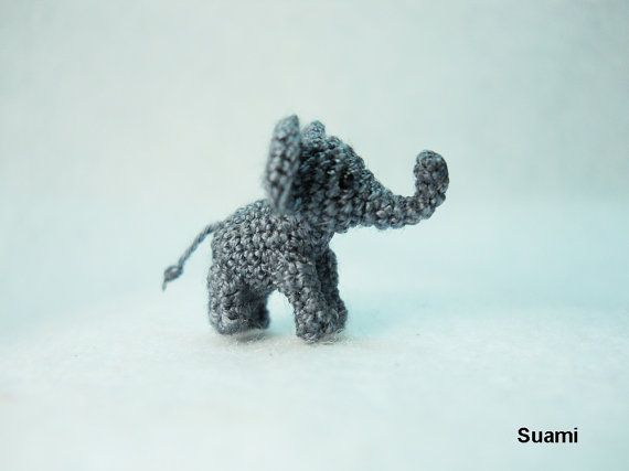 Extreme Tiny Elephant  Micro Crochet Miniature Animals  by suami, $110.00  Soooo cute...but way out of my price range!  He's not even 1 inch tall :)