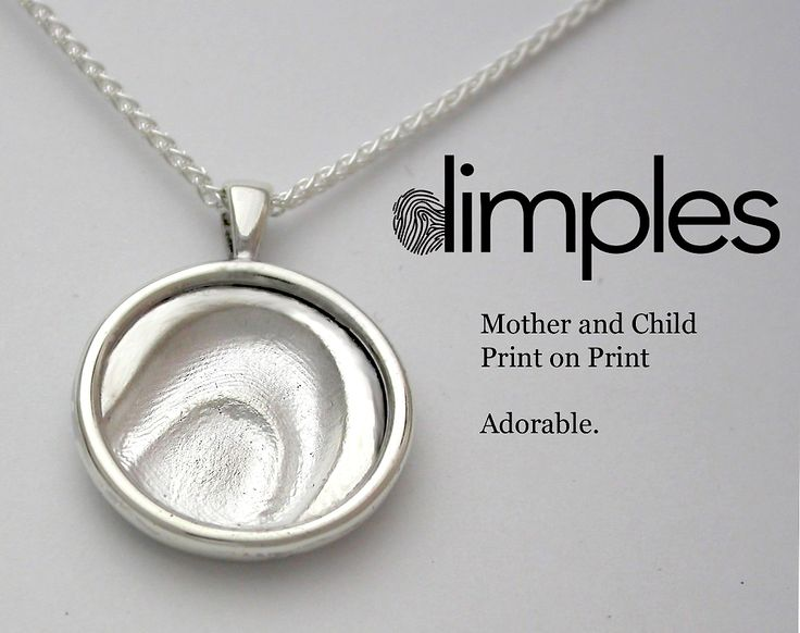 Dimples fingerprint jewellery silver charm necklace with mother and child fingerprints.