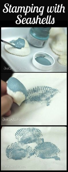 Seashell Stamped Pillow (Tutorial) via http://www.TheKimSixFix.com
