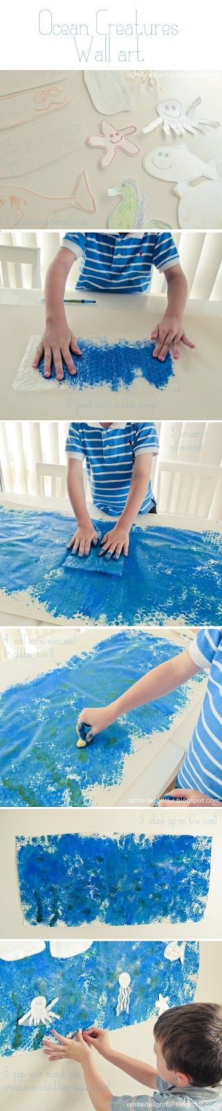 Ocean creatures wall art project. This might be fun to do as a group, and create one large display. Especially to culminate our ocean unit